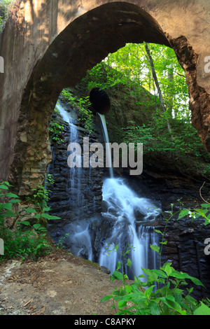This shot is taken at the ruins of the mill in Watson Mill Bridge State Park.    What you are seeing is a hole busted - Stock Photo