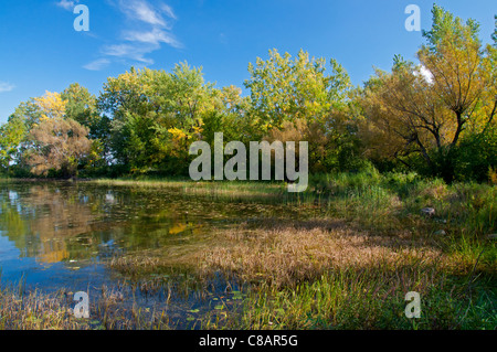 A view of part of the entrance to the Soulange Canal. - Stock Photo