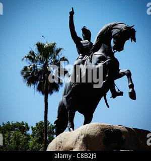Statue of General San Martin in San Martin Plaza, Mendoza, Argentina. - Stock Photo