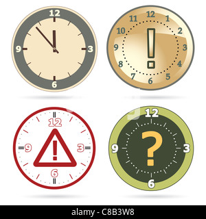 Clock set with question, exclamation marks and warning sign instead of clock hands - Stock Photo