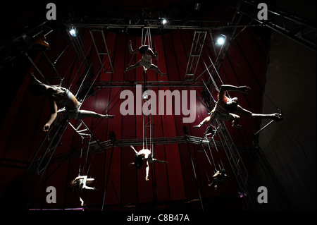Suspended high wire artists practising with the Nofitstate Circus on tour in South Wales UK - Stock Photo
