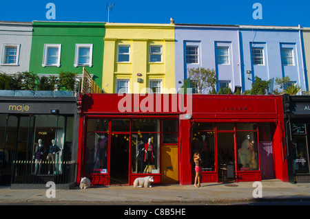 Shops along Westbourne Grove street Notting Hill district London England UK Europe - Stock Photo