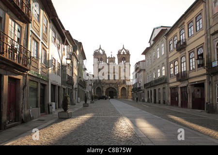 Morning at the Cathedral (Se) in Braga, Portugal. - Stock Photo