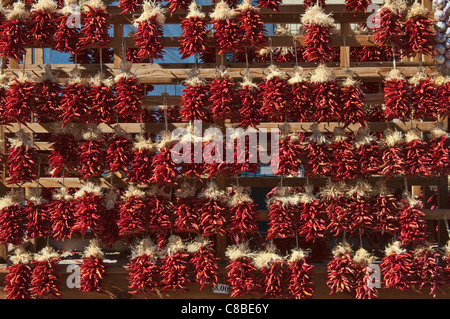 Chili ristras (red peppers) on vendor stall in Santa Fe, New Mexico, USA - Stock Photo