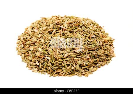 Fennel seeds on a white background - Stock Photo