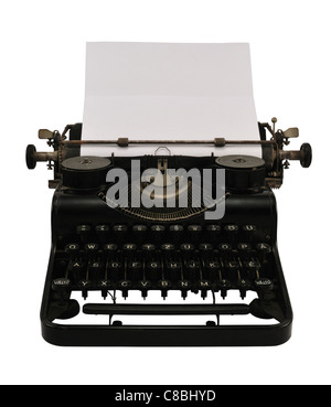 Old black typewriter with blank paper, isolated on white. - Stock Photo