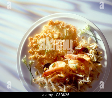 Far Eastern salad and rice cakes - Stock Photo