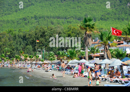AKYAKA, TURKEY. A view of Akyaka beach. 2011. - Stock Photo