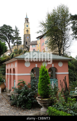 portmeirion Italianate village gwynedd north wales - Stock Photo
