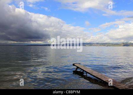 Stormy skies over Lake Geneva (Lac Leman) at Evian France - Stock Photo