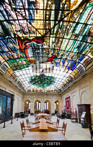 The Tree of Gernika stained glass ceiling in the Assembly House (Casa de las Juntas), Gernika (Guernica), Basque - Stock Photo