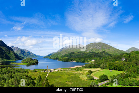 Loch Shiel with Glenfinnan Monument (commemorating the 1745 Jacobite Rising) in  foreground, Glenfinnan,  Scotland, - Stock Photo
