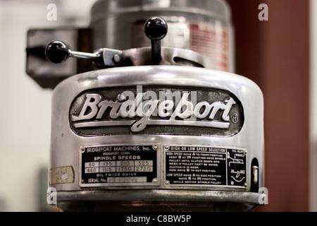 Closeup of a Bridgeport drill press nameplate. - Stock Photo