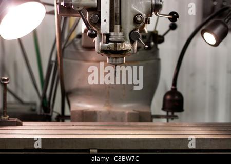 Closeup of a Bridgeport drill press. - Stock Photo