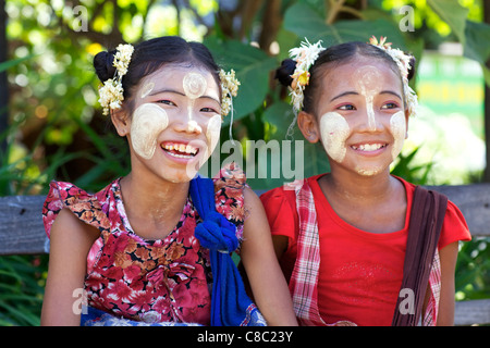 Unidentified children wearing traditional Thanaka cream in Bagan, Myanmar - Stock Photo