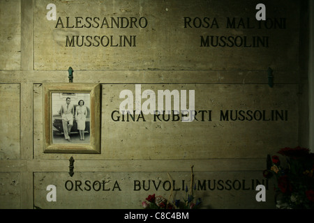 Tomb of Alessandro and Rosa Maltoni Mussolini, the parents of Benito Mussolini, in the family crypt in Predappio, - Stock Photo
