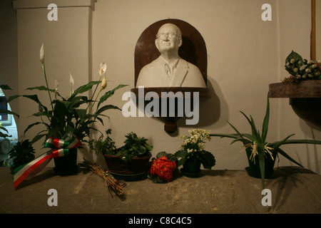 Tomb of Romano Mussolini, the youngest son of Benito Mussolini, in the family crypt in the cemetery of Predappio, - Stock Photo