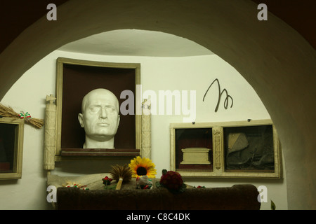 Tomb of Italian Fascist dictator Benito Mussolini in the Mussolini family crypt in the cemetery of Predappio, Italy. - Stock Photo