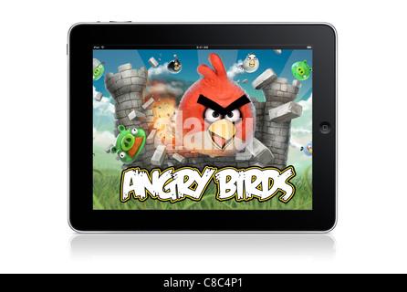 Angry birds game on ipad - white backrgound - Stock Photo