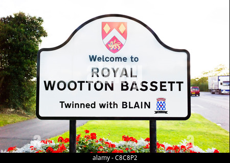 Sign for Royal Wootton Bassett inaugurated in October 2011 in Wiltshire UK - Stock Photo