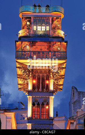 Portugal: Top of the Elevator of Santa Justa in Lisbon´s downtown by night - Stock Photo