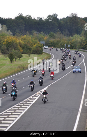 Motorcycle Action Group (MAG) protest, M40 motorway, Warwickshire, UK 25th September 2011 - Stock Photo