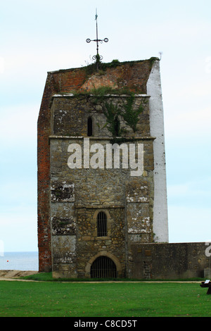All that remains of St. Helens Church Tower, St. Helens, Isle of Wight, The setting off point for Lord Nelson's - Stock Photo