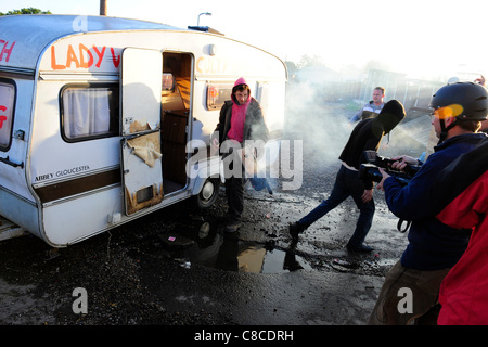 After ten years of court battles, the residents of Dale Farm travellers site at Crays Hill near Basildon Essex, - Stock Photo