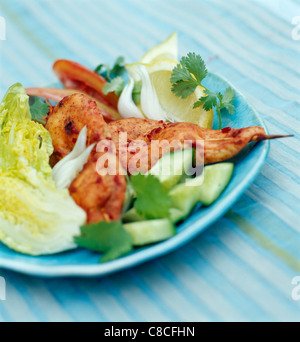 Tandoori chicken brochettes - Stock Photo