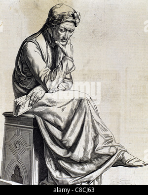 Dante Alighieri (1265-1321). Italian poet. Engraving. - Stock Photo