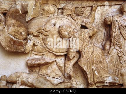 Siphnian Treasury. 530 BC. Gigantomachy. Hera between warriors. Delphi. Greece. - Stock Photo