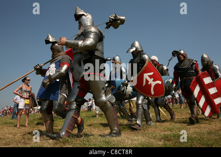 Re-enactment of the Battle of Grunwald (1410) in Northern Poland. - Stock Photo