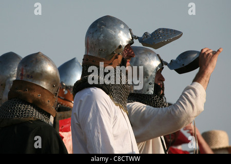Rehearsal of the re-enactment of the Battle of Grunwald (1410) in Northern Poland. - Stock Photo