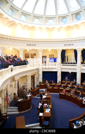 Idaho House of Representatives in session at the Idaho State Capitol building located in Boise, Idaho, USA.