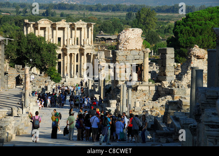EPHESUS (EFES), TURKEY. A view down Curetes Way to the Library of Celsus Polemaeanus. 2011. - Stock Photo
