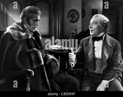 BORIS KARLOFF, GEORGE ARLISS, THE HOUSE OF ROTHSCHILD, 1943 - Stock Photo