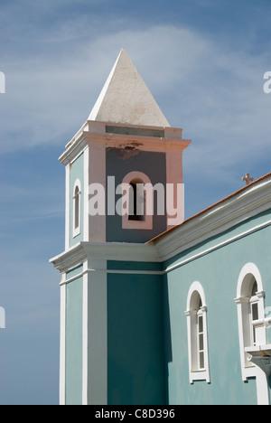 Bell tower at the Nossa Senhora da Canceicao, Sao Filipe, Fogo, Cape Verde - Stock Photo