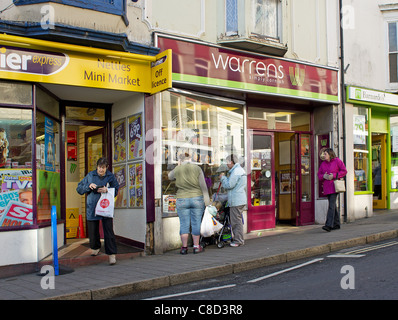 shoppers in the town centre at camborne, cornwall, uk - Stock Photo