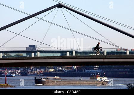 Cargo ships on river Rhine, Düsseldorf, Germany. - Stock Photo
