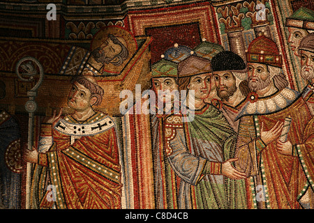 Arrival of relics of Saint Mark. Byzantine mosaic on the facade of Saint Mark's Basilica (Basilica di San Marco) - Stock Photo
