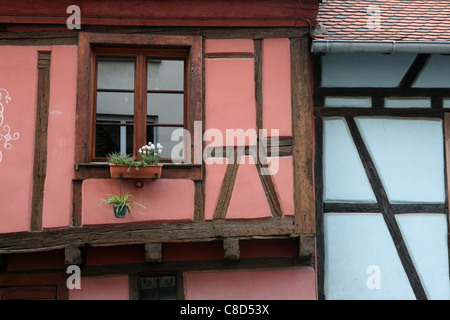 Timber-frame houses in the historic centre of Colmar, France. - Stock Photo