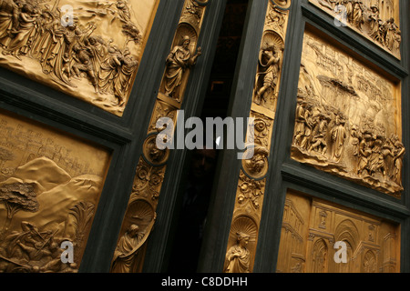 San Giovanni Festival. Opened Gates of Paradise by Lorenzo Ghiberty of the Florence Baptistery in Florence, Italy. - Stock Photo