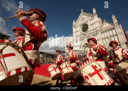 Calcio Storico. Opening ceremony of the final match in historical football at the Piazza di Santa Croce in Florence, - Stock Photo