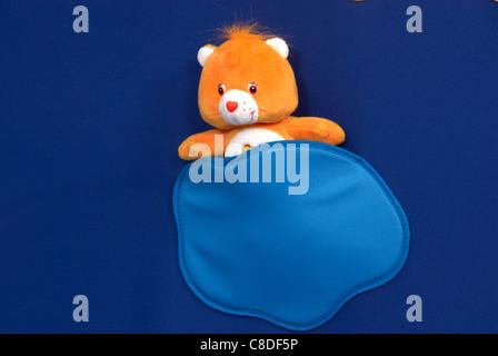 alone animal background bear bow boy brown care celebration child childhood cute decoration decorative fabric fluffy - Stock Photo