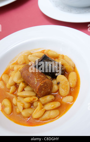 white beans whit pork, typical Asturian dish known as fabada - Stock Photo