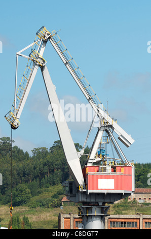 large port crane in the port of Aviles, Asturias, Spain - Stock Photo