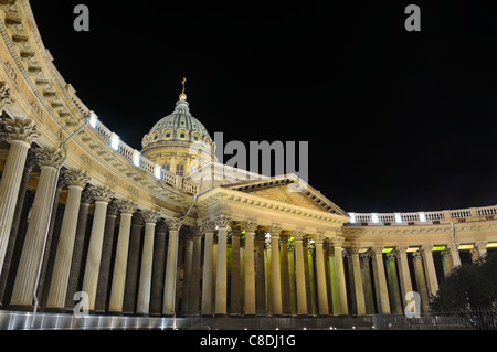 Kazan Cathedral or Kazanskiy Kafedralniy Sobor  also known as the Cathedral of Our Lady of Kazan. Saint-Petersburg, - Stock Photo