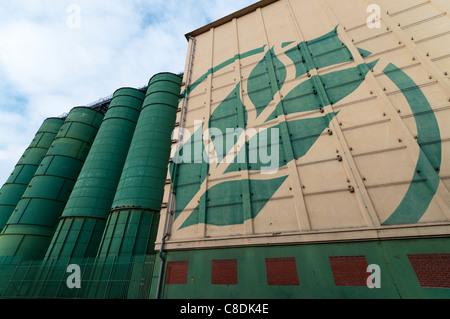Rank Hovis McDougall grain silos in Trafford Park, Manchester - Stock Photo