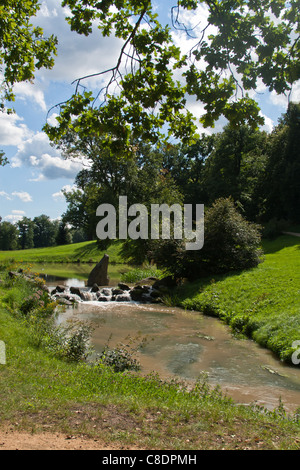 Park Muzakowski (Furst Puckler Park) - a  UNESCO world  heritage site. Bad Muskau, Germany / Poland. - Stock Photo