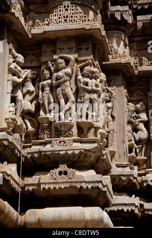 Sculptures at Jagdish Temple, Udaipur, Rajasthan, India - Stock Photo